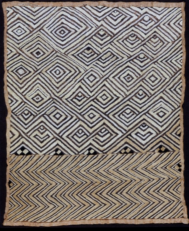 Musese Panel; cutpile embroidery and raffia, Zaire, Kuba Tribe,XXc. Termed Kassai velvet.