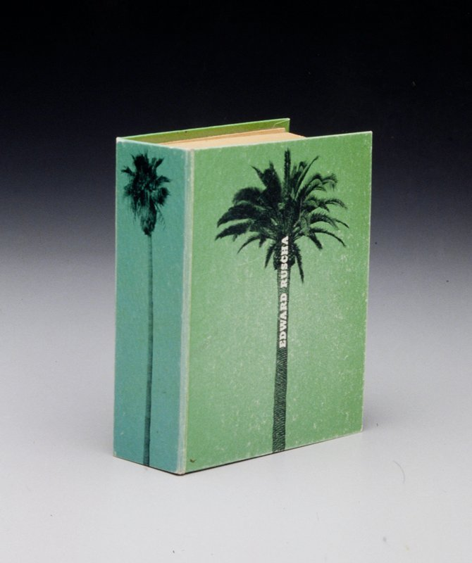 """Hardcover exhibition catalogue; green paper over cardboard; printed on cover and spine with palm tree images from """"A Few Palm Trees."""" 436 pp. (261 with text or images; 175 blank pp.)"""