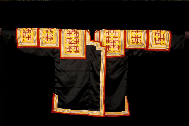 Burial Robe with seperate Neckpiece; black satin with red, yellow, and white cotton fold and tuck applique panels; lined in green cotton. RobeL.33-¼ x W.68 in., Neckpiece H.6-¼ x W.11-3/4 in.