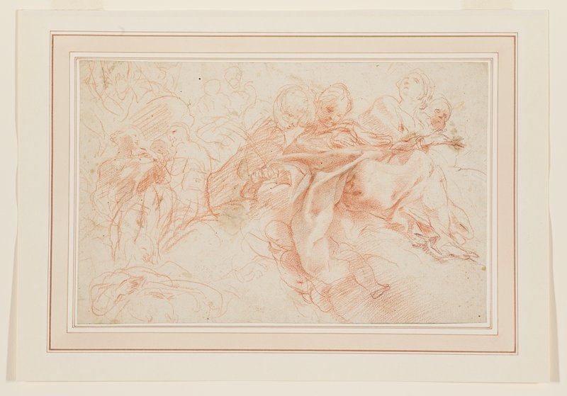 mounted to ivory sheet with pale red borders; sketchy figures in clouds; two central figures look down; figures at left conversing together; one figure in URC looks up; verso not examined--received framed