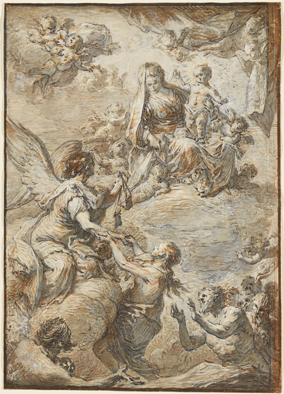 Mary seated on a cloud accompanied by many cherubs; cherubs in sky in ULC and drawing back a cloth in URC; angel at left with scales pulling up a woman while two men and other figures look on from bottom; sketchy style