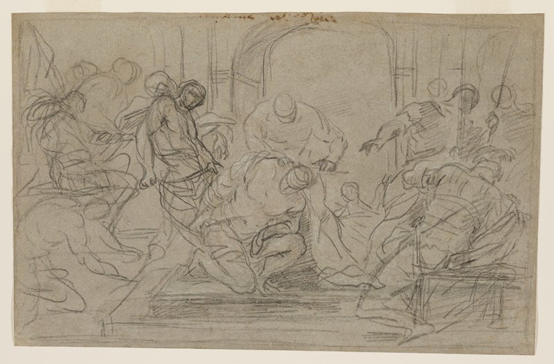 sketch; kneeling Christ at center, wearing blindfold, with many dynamically-posed figures surrounding him; archway in background
