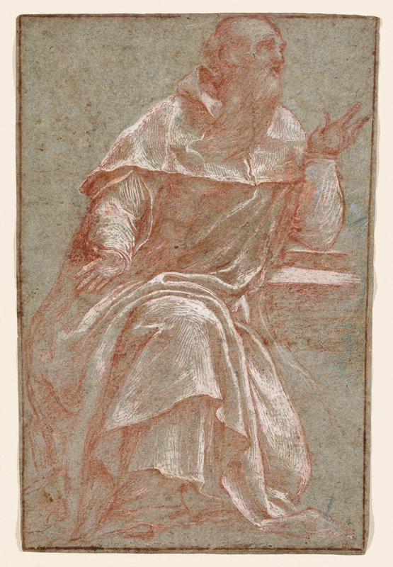recto: seated man wearing draping robes with PL elbow resting on a book; balding, with long beard; verso not examined--received framed