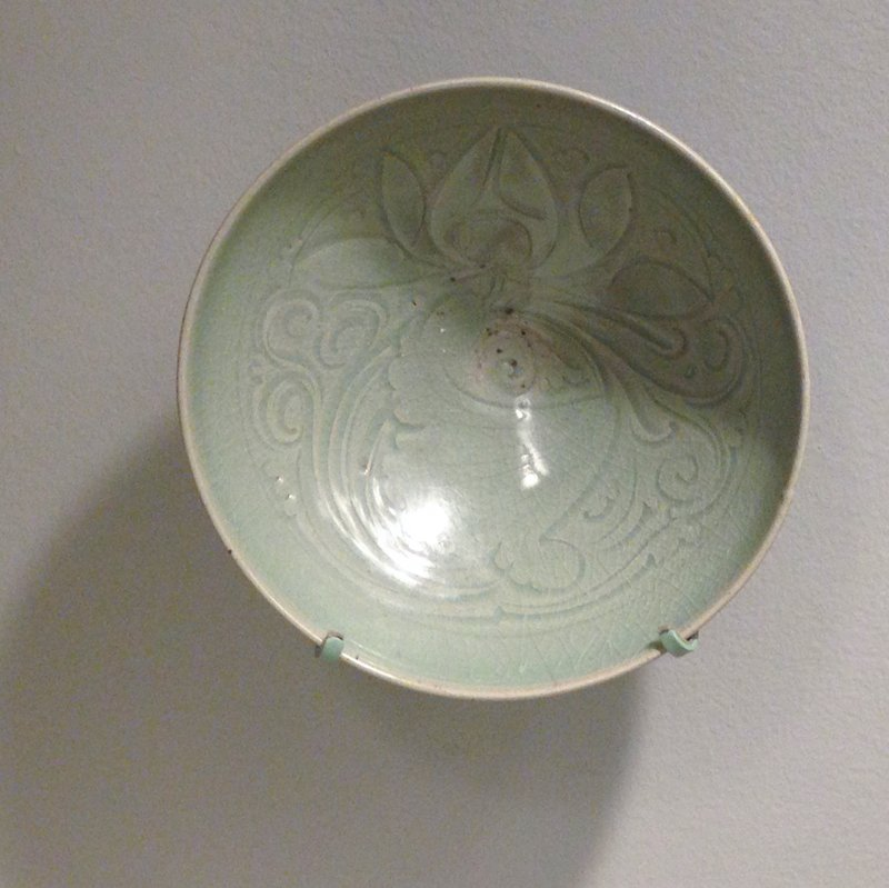 Yao-Chou celadon bowl, porcelain, carved lotus design.
