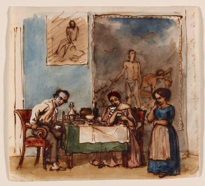 couple seated at a table with green and white table coverings--man just rising from his chair; another woman in blue dress with white apron stands at right; seated woman holds a white cat; painting and sketch hang on wall in background