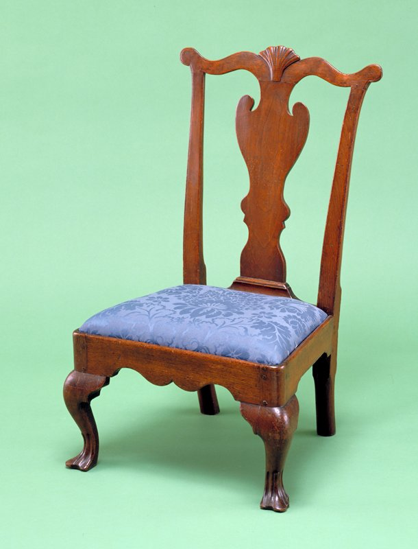 slipper chair or child's chair, walnut and upholstery; offered as a gift in 1962, accessioned 1987