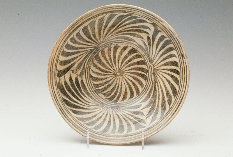 Shallow Bowl, Kalong ware; brown underglaze with iron black design; porcelaneous stoneware.