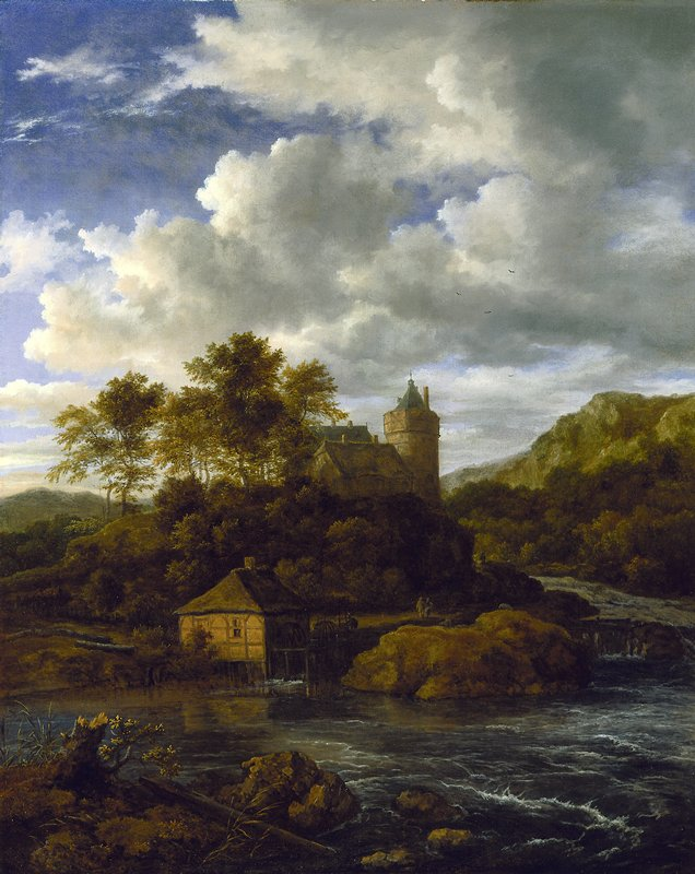 Landscape with castle and watermill