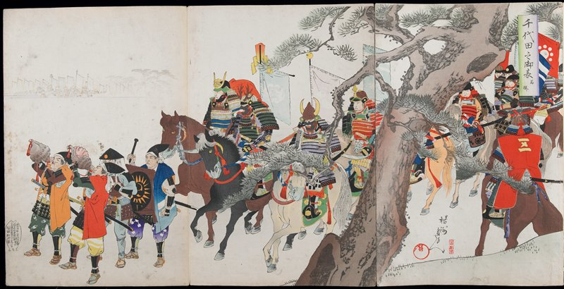 tan hardcover, accordion bound album with title down front center; album consists of one hexaptych and eleven triptychs of shogun and attendants engaging in various activities