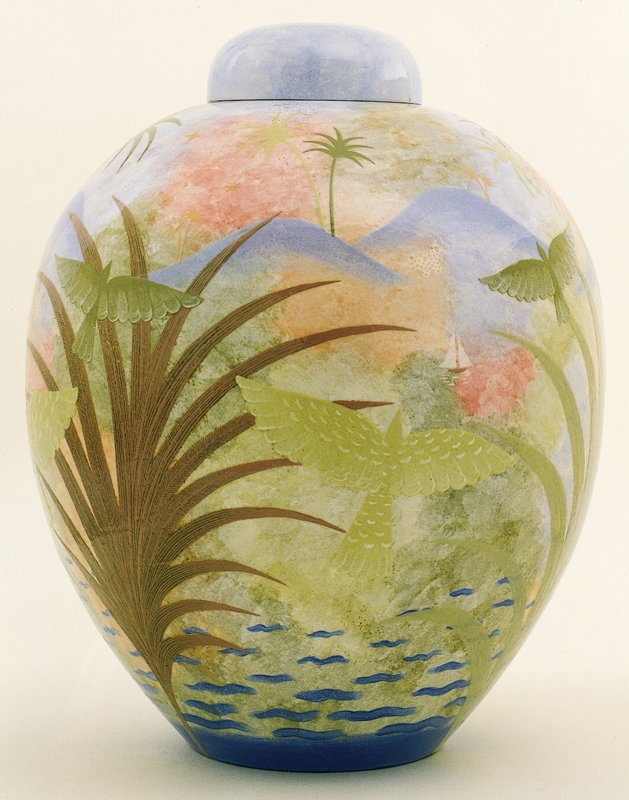 ovoid body decorated with continuous tropical landscape depicting distant mountains and sailboats, stylized palms, exotic birds and butterflies; capped with cover in matching blue glaze