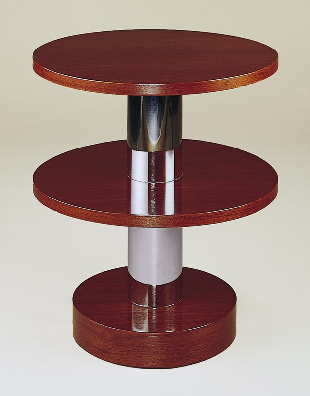American walnut with chromium-plated steel; two-tier disc form