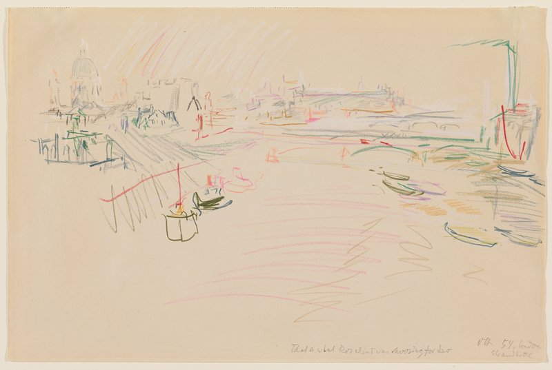 sketch in multicolors of river scene with bridges with archways and boats; buildings at left, with domed building in ULC