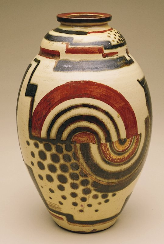 High-fired pottery vase with hand-painted abstract decoration in rust, black and silver on a cream-colored ground