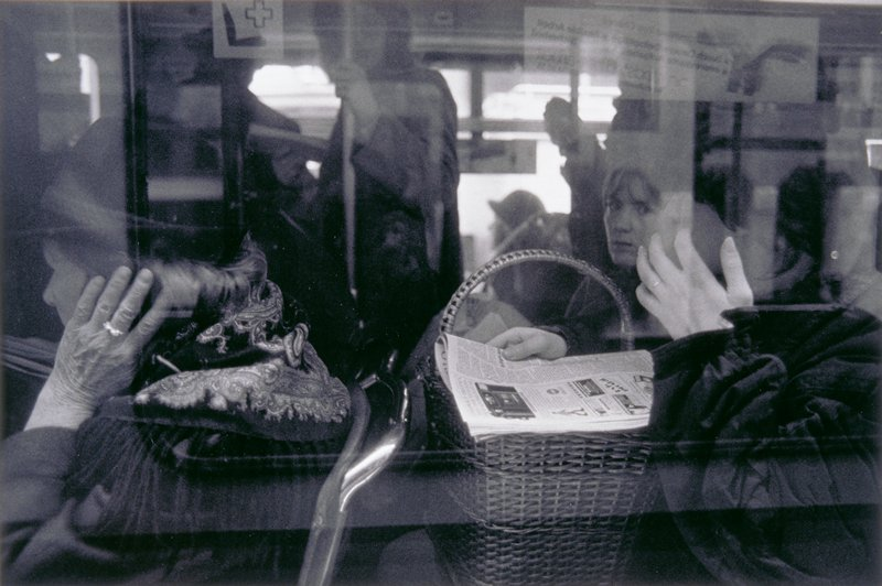 woman with basket on train