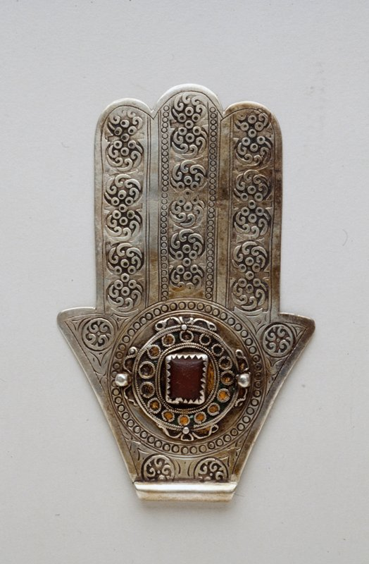 Hand Amulet; Hand of Fatima metal, red glass cabuchon, enamel