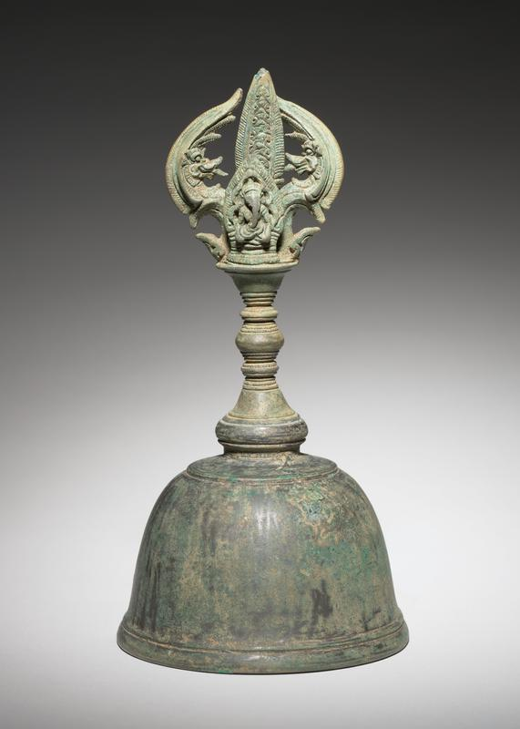 Khmer Culture, Angkor Wat Style Ritual Altar Bell with Ganesh Motif Handle