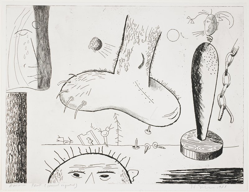 Macabre scene featuring a large foot, center, with long claws and a nail protruding from its sole; the top half of a face, LL; two small birds in background; hanging chain on R; orbits in the UL and URQs