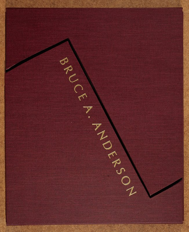 Suite of eight untitled etchings housed in a maroon linen buckram folding portfolio case, with gold-stamped lettering