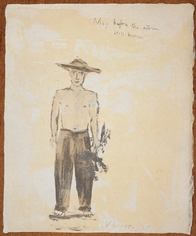 """Full length portrait of a man in a wide rimmed hat, clothed from the waist down; he holds a bushel of flowers in his PL hand and faces the viewer; the words """"May before the storm"""" scrawled UR; predominant colors: blue, grey and yellow"""