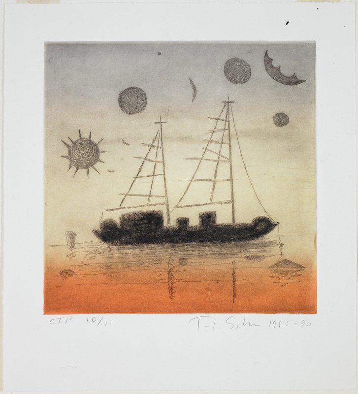Two masted black ship afloat in light orange water; grey/blue sky in background with black orbits; floating buoy(?) in LLQ; reflection in water