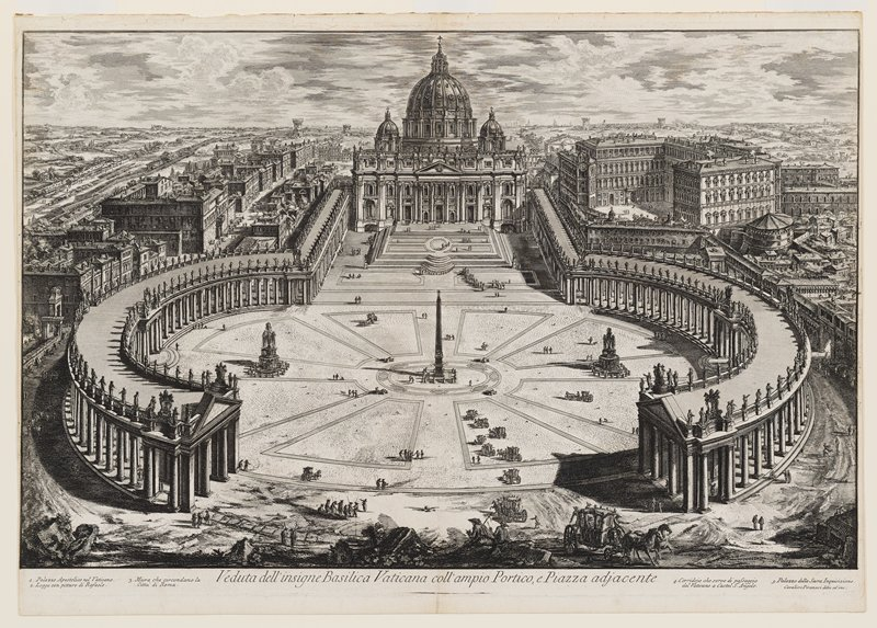 courtyard in front of the Vatican with its two long curving colonnades surmounted with sculptures; carriages and figures throughout; city beyond at left and right