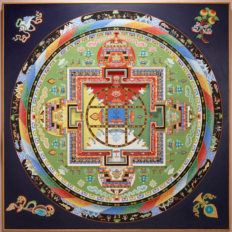 Mandala of colored sand on wood; Yamantaka (Conqueror of Death) is represented at the center by the blue 'vajra'; consists of a series of concentric bands; outermost represents burial grounds with a landscape and animals; moving inward are a circle of flames, a circle of 'vajras' and a circle of lotus petals; these bands circumscribe a quadrangle with gates at the four compass points; innermost square divided into triangular quadrants and an inner circle is divided into nine units containing symbols which represent various deities; attributes of the five senses are depicted in the four outside corners