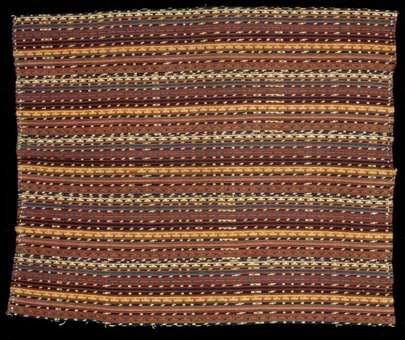 woven fabric; five panels stitched together; stripes, some with patterning; gold, red, green, blue, white, orange