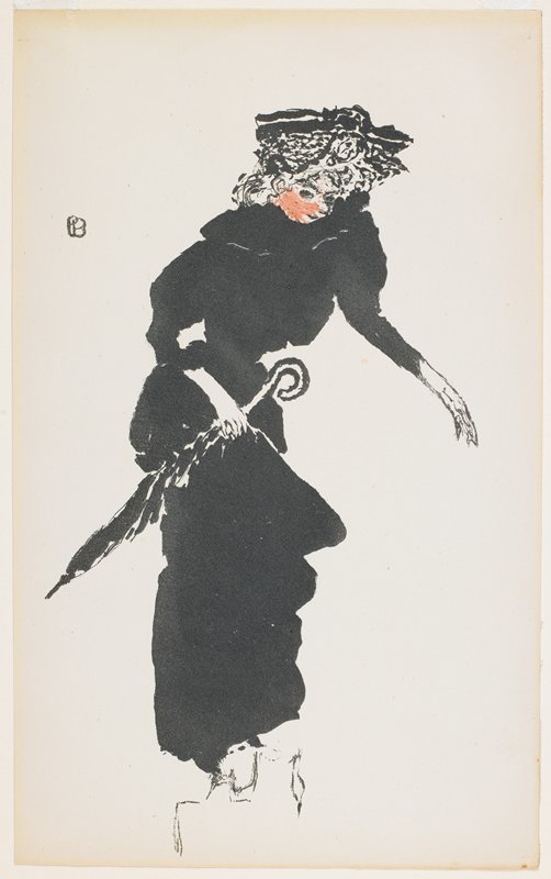 stepping woman in black wearing a large hat, holding her skirt and a long closed umbrella in her PR hand; PL arm out; pink face