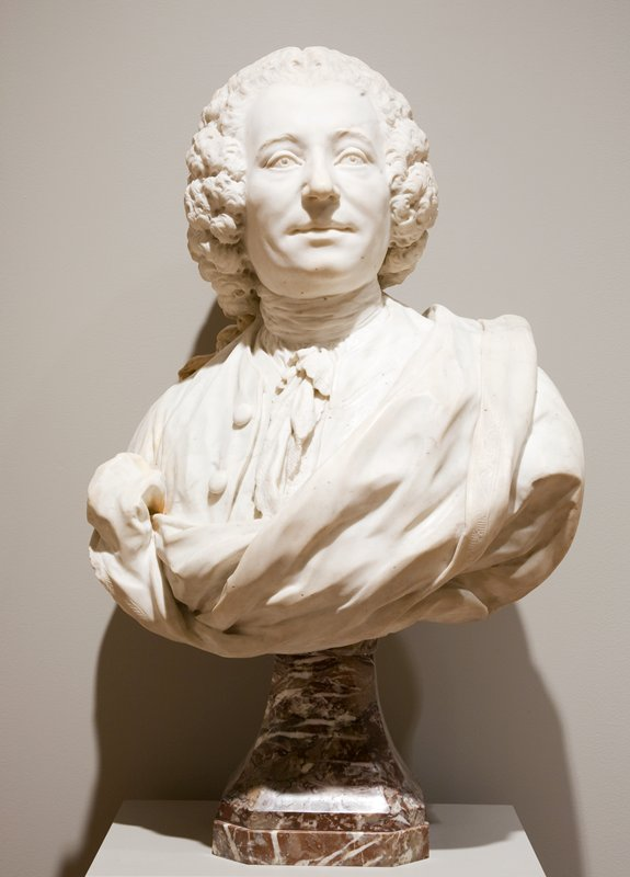 Caffieri, 'Portrait Bust of M. De Neuville', marble, French XVIIIc. cat. card dims H. 21' x W. 22'; base to bust stored as well 11-1/4' x 8' x 8'