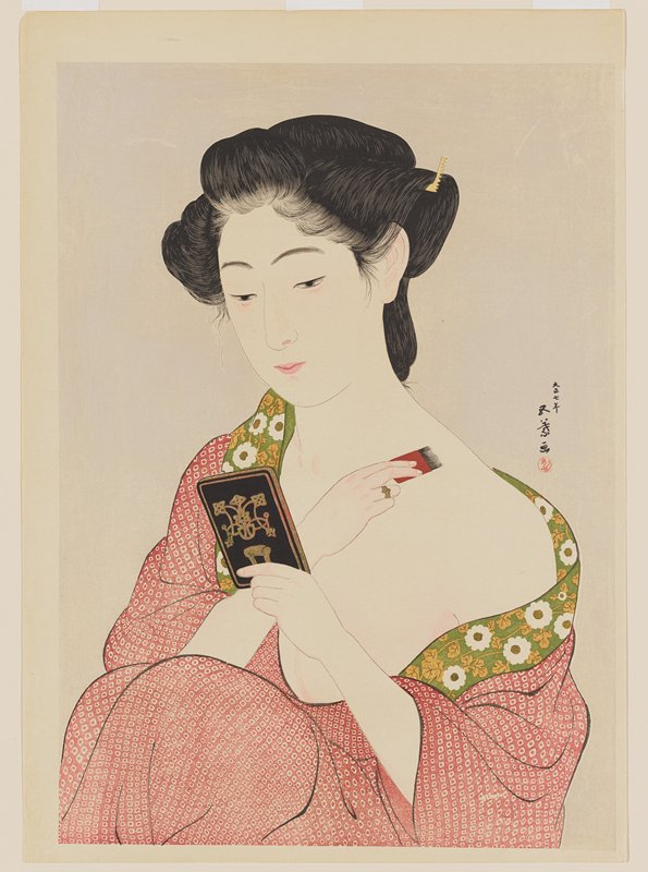 woman in red kimono with green trim; applying makeup to PL shoulder with PR hand; mirror held in PL hand
