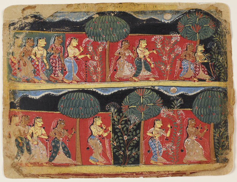 Illustration from a Bhagavata Purana Series; divided in two horizontal bands depicting groups of gopis walking through the forest, asking the plants and trees for the whereabouts of Krishna