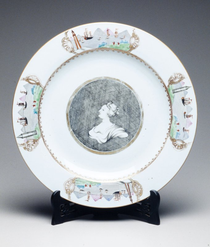 Qianlong plate decorated en grisaille profile portrait bust; hatched ground within gilt band; catouches of port scenes in colors