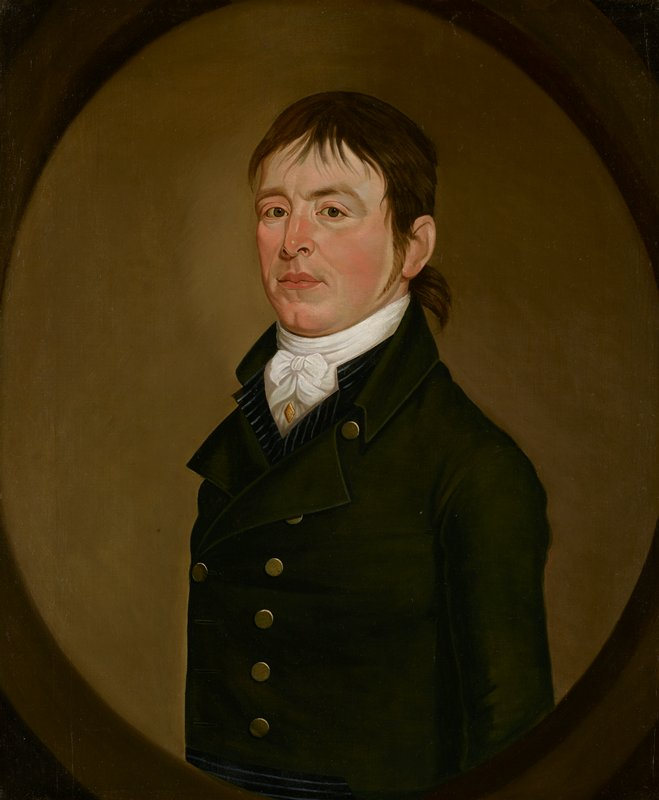 Portrait of a man from just above waist up; quarter turned to proper right; wearing a high white stock with gold stick pin and a dark green waistcoat with gold buttons