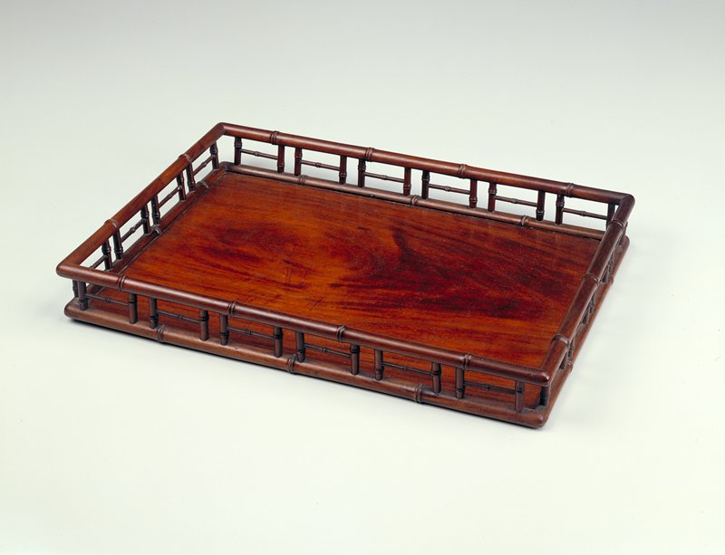 rectangular huang hua-li tray; floating bottom panel; sides imitate bamboo, two tiered railing around perimeter; bottom panel made from one piece of wood