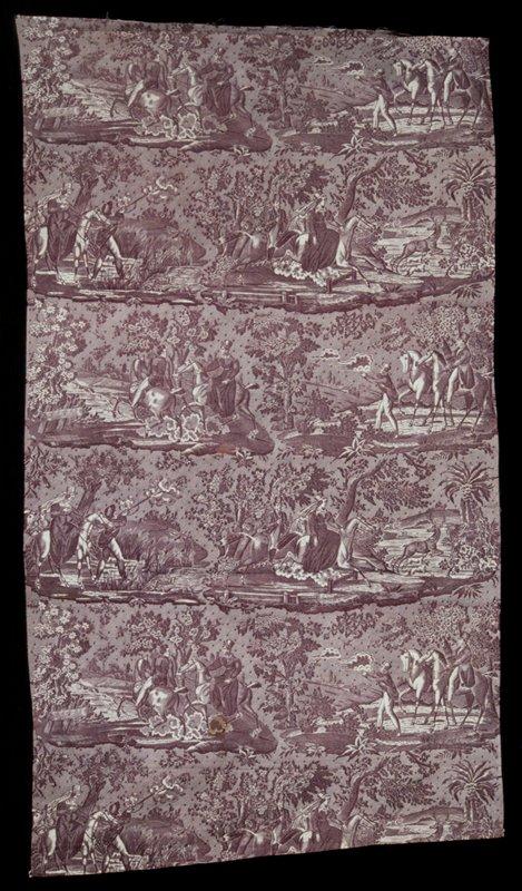 Toile, strip, printed in plum color with scenes of the Hunt La Chasse aux Perdrix, La Chasse au cerf, La Chasse aus canards, La Chasse au renard,signed PH.W.
