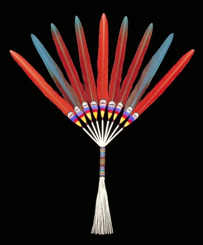 Red and bright blue feathers, each with small black and white, blue, red and yellow feathers attached to quill end; quills wrapped in red and green ribbon and connected to leather tubes; tubes bundled into multicolored beaded handle with white fringe