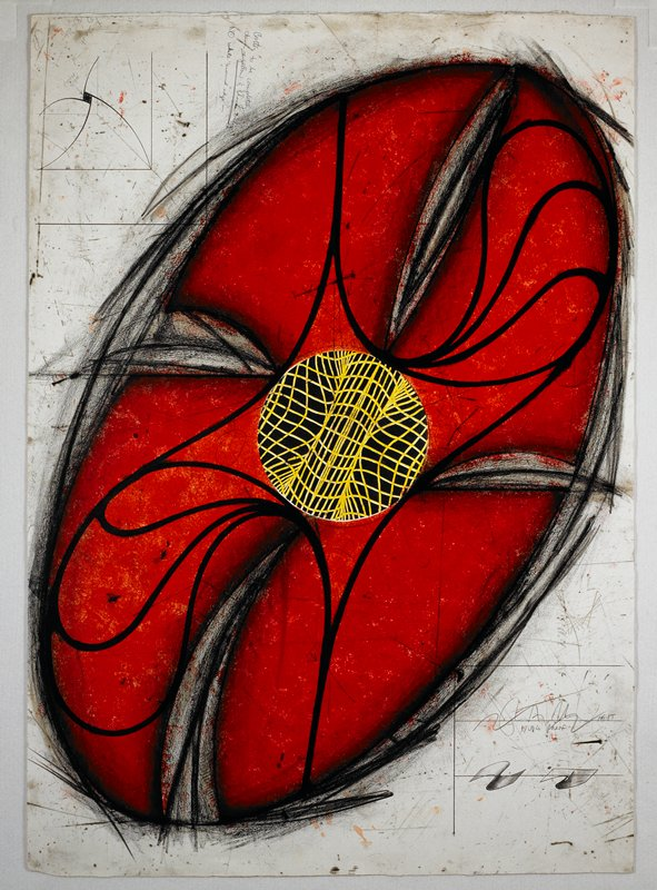 Sculptural abstraction featuring an elliptical red object that fills most of the picture plane; its center consists of a grey circle with interweaving yellow lines; heavy black lines around the object's center spiral outwards towards its border