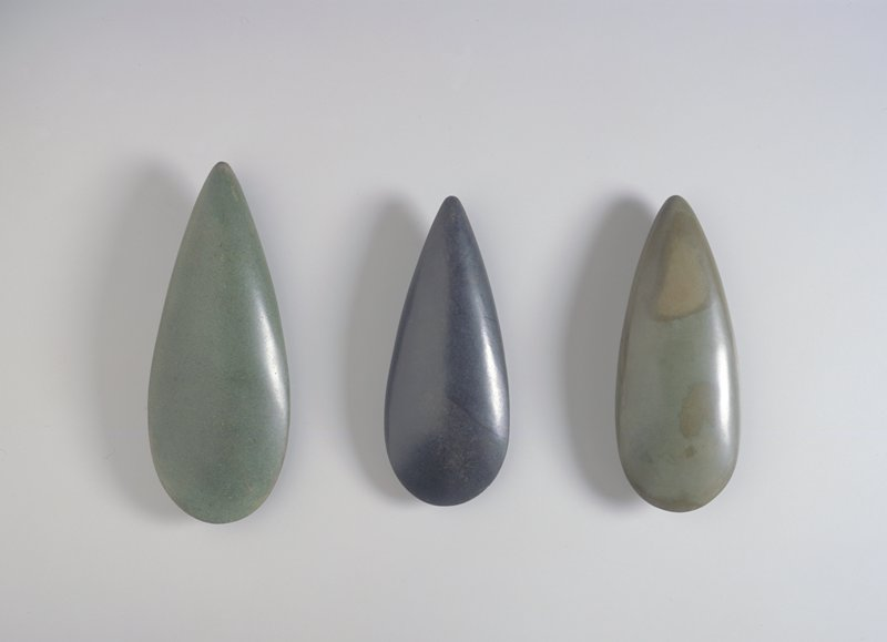 Teardrop shaped; dark shiny stone with fossilized inclusions and some brown flecks; blackstone