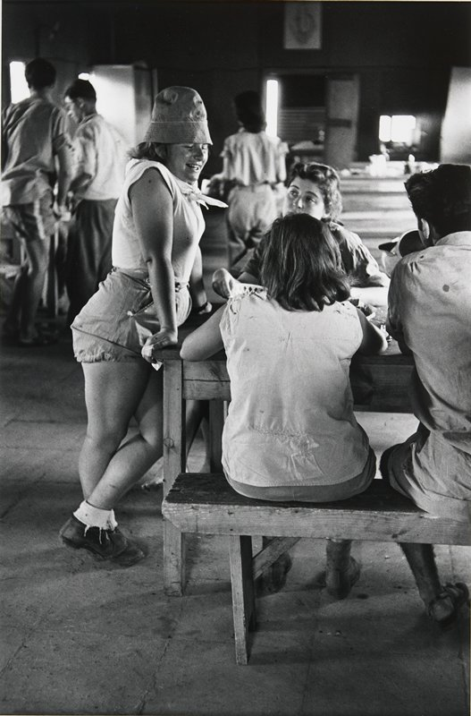 young woman wearing shorts and a hat leaning against a table where 2 other women and a man are seated; matted