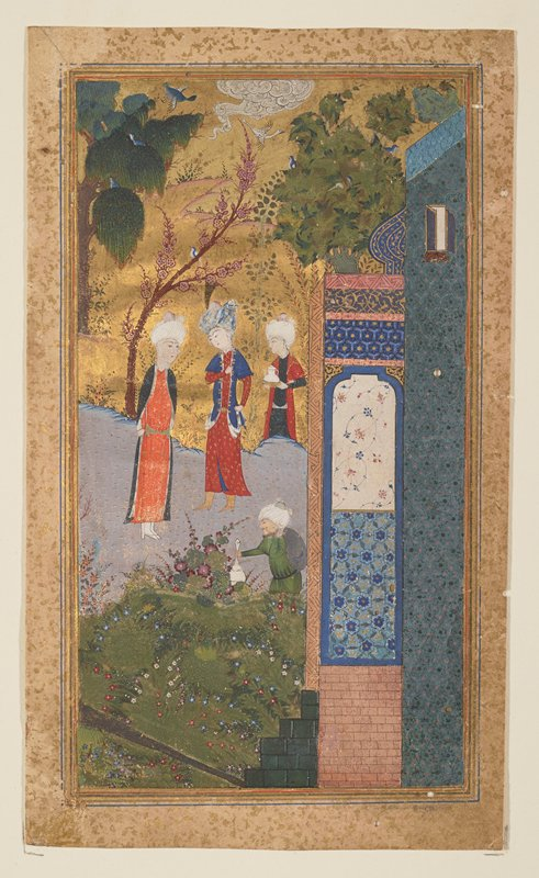 Garden Scene with two Princes and Attendants. The painting is based on the romantic epic poem 'Gal-Mul' by Sa'di. The lyrical sweetness of this picture is particularly striking in the painting of the vegetation. Timurid of Ottoman period.