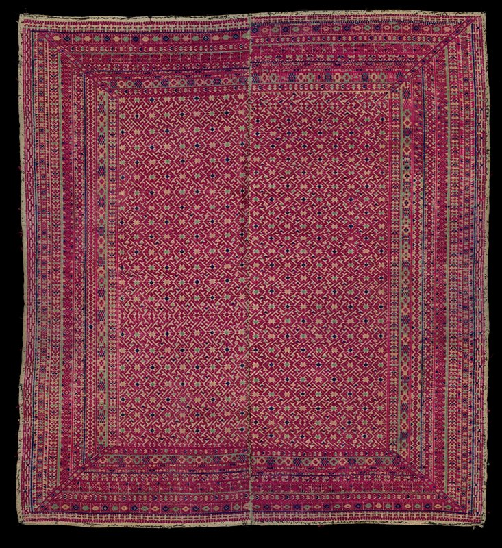 fuschia with blue, green and pale pink; geometric patterns embroidered overall