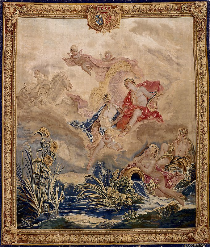 a piece from the tapestry series Loves of the Gods (Amou des Dieux) produced by the Royal Beavais Manufactory, under the entrepreneur André-Charlemagne Charron; warp undyed wool, 6-9 ends per cm.; weft dyed wool and silk, 24-over 60 ends per cm.