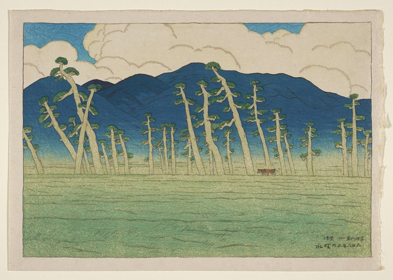 landscape; tall trees with thick trunks beyond a field in foreground; figure with ox at R; blue mountains in background