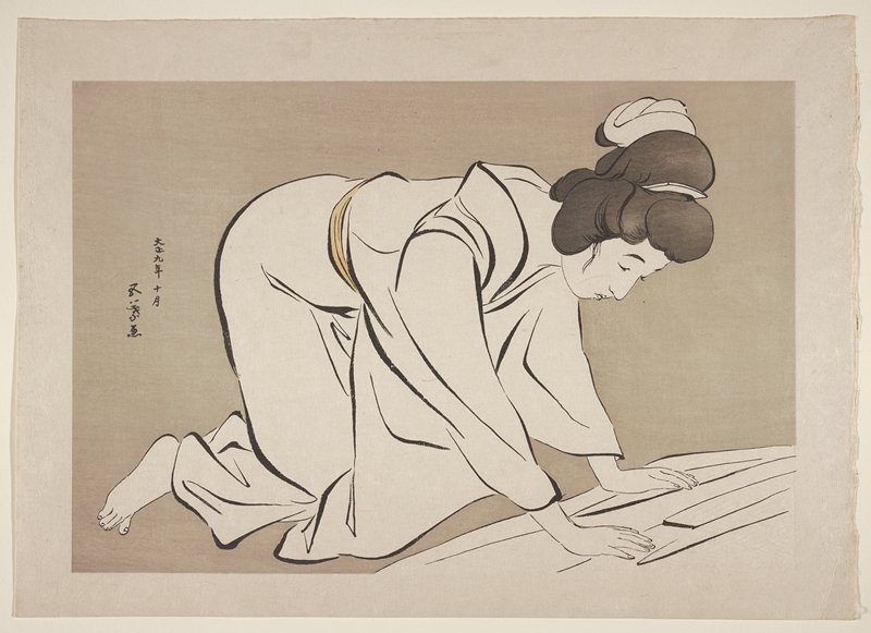 kneeling woman smoothing a kimono; grey ground