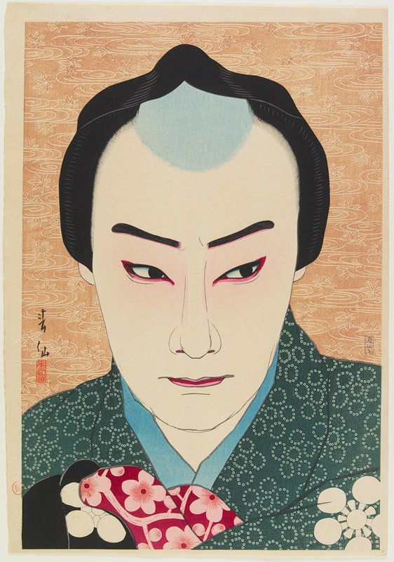 head of man wearing green kimono; brown ground with leaf and swirl pattern