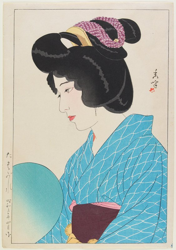 head and shoulders of woman in profile, PL; blue and white kimono; maroon obi; turquoise and white fan