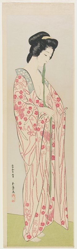 standing woman closing a red and white floral robe-like garment with pink lining; woman holes a long, thin green tie in her mouth; L2001.372.177 is a sketch for this print