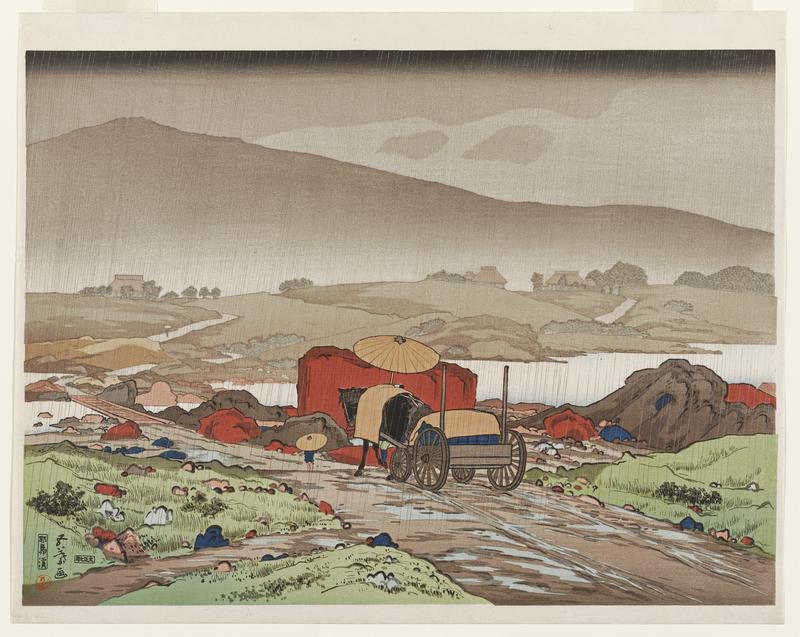 landscape; rainy landscape; horse pulling cart in forground on a dirt road; several buildings in distance; grey sky