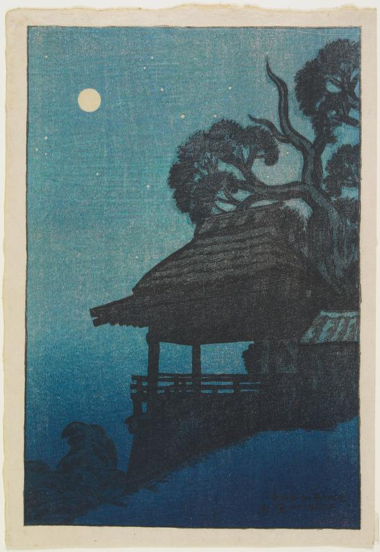 landscape; night scene; moon and stars, ULC; temple and trees at R; dark blues and black; red seal, top margin, URQ