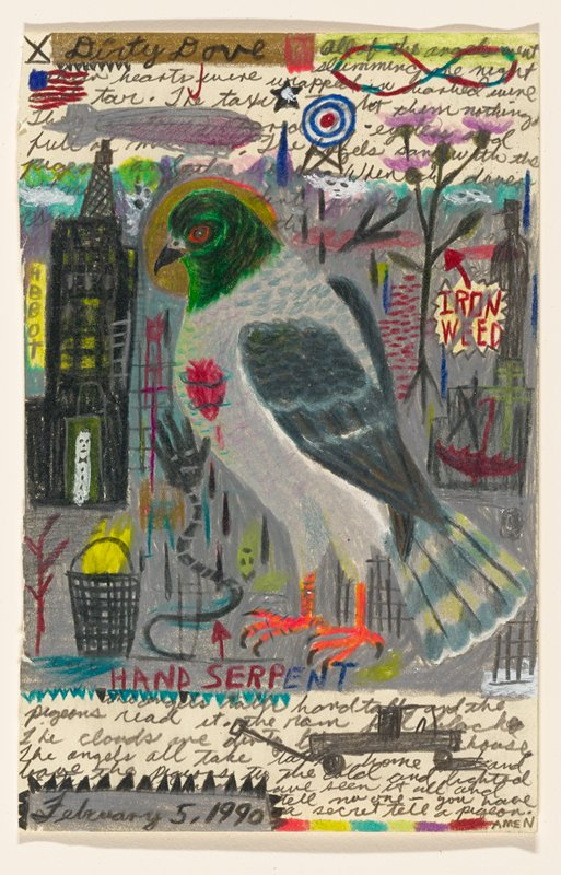 drawing of pigeon in foreground; pigeon with a halo and a red heart; cityscape in background; multicolored smaller drawings and text above and below bird